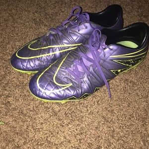 Purple and Neon Yellow Hypervenom soccer cleats